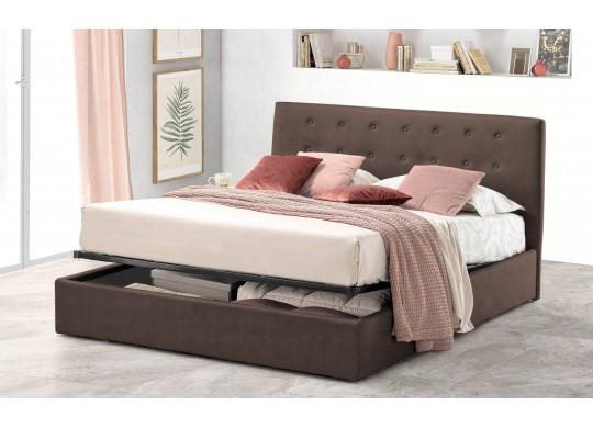 Pat Tapitat pentru Dormitor cu Lada, 100x190, Abra Promo Dolce Dormire, Textil, Maro Inchis