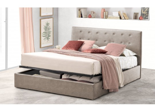 Pat Tapitat pentru Dormitor cu Lada, 100x190, Abra Promo Dolce Dormire, Textil, Beige