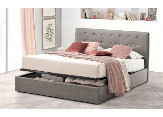 Pat Tapitat pentru Dormitor cu Lada, 100x190, Abra Promo Dolce Dormire, Textil, Gri Deschis