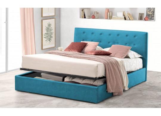Pat Tapitat pentru Dormitor cu Lada, 100x190, Abra Promo Dolce Dormire, Textil, Turcoaz