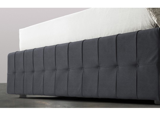 Pat Tapitat Rabatabil cu Lada Depozitare, 160x200 cm, Notturno Promo, Dolce Dormire, Textil Teflonat, Anti-Pete, Gri inchis