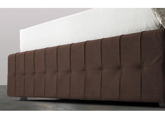 Pat Tapitat Rabatabil cu Lada Depozitare, 80x200 cm, Notturno Promo, Dolce Dormire, Textil, Maro inchis