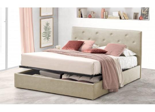 Pat Tapitat pentru Dormitor cu Lada, 100x190, Rombo Promo Dolce Dormire, Textil, Ivoriu