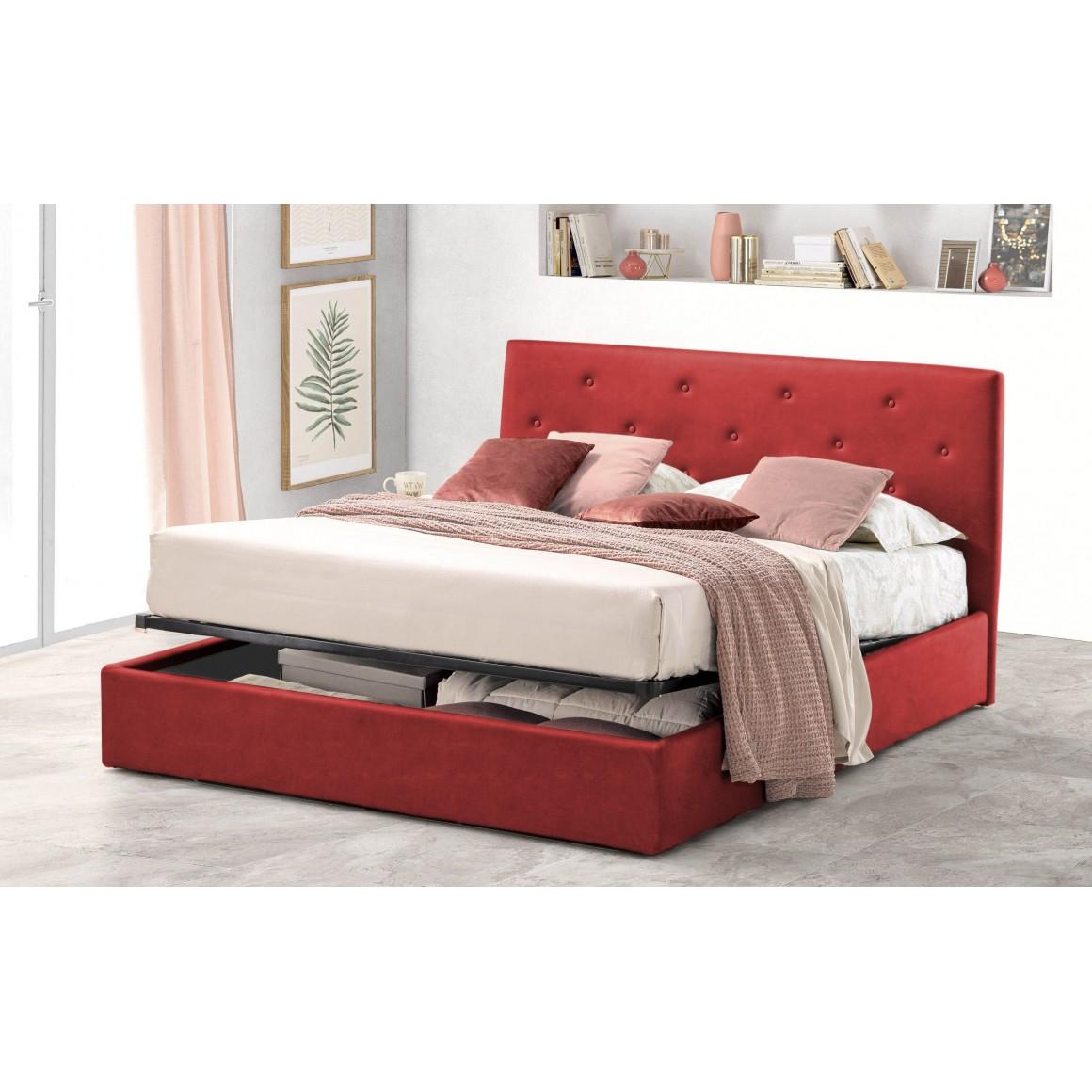 Pat Tapitat pentru Dormitor cu Lada, 180x200, Rombo Promo Dolce Dormire, Textil, Rosu