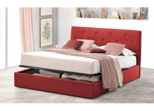 Pat Tapitat pentru Dormitor cu Lada, 100x190, Rombo Promo Dolce Dormire, Textil, Rosu