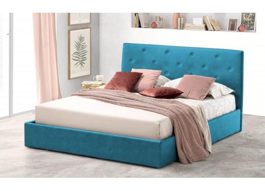 Pat Tapitat pentru Dormitor cu Lada, 100x190, Rombo Promo Dolce Dormire, Textil, Turcoaz