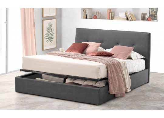 Pat Tapitat pentru Dormitor cu Lada, 100x190, Tiamo Promo Dolce Dormire, Textil, Gri Inchis