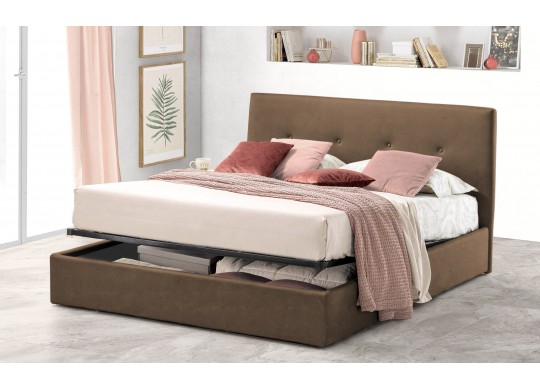 Pat Tapitat pentru Dormitor cu Lada, 100x190, Tiamo Promo Dolce Dormire, Textil, Maro Deschis