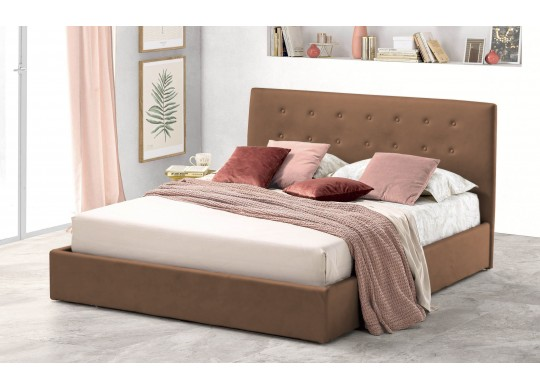 Pat Tapitat pentru Dormitor cu Lada, 100x190, Abra Promo Dolce Dormire, Maro deschis