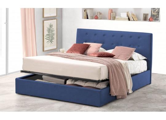 Pat Tapitat pentru Dormitor cu Lada, 100x190, Abra Promo Dolce Dormire, Textil Teflonat, Anti-Pete Jungle, Bleumarin