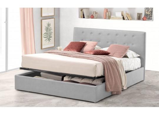 Pat Tapitat pentru Dormitor cu Lada, 100x190, Abra Promo Dolce Dormire, Textil Teflonat, Anti-Pete Jungle, Gri Deschis