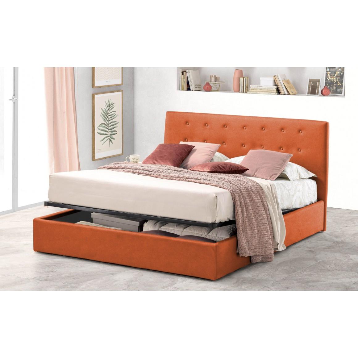 Pat Tapitat pentru Dormitor cu Lada, 100x200, Abra Promo Dolce Dormire, Textil Teflonat, Anti-Pete Jungle, Portocaliu