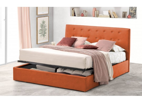 Pat Tapitat pentru Dormitor cu Lada, 100x190, Abra Promo Dolce Dormire, Textil Teflonat, Anti-Pete Jungle, Portocaliu