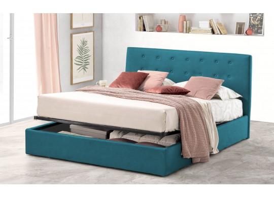 Pat Tapitat pentru Dormitor cu Lada, 100x190, Abra Promo Dolce Dormire, Textil Teflonat, Anti-Pete Jungle, Turcoaz