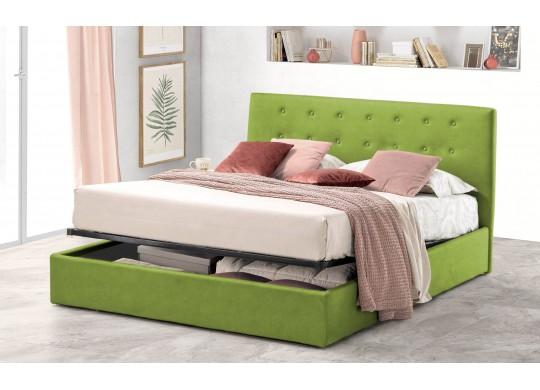 Pat Tapitat pentru Dormitor cu Lada, 100x190, Abra Promo Dolce Dormire, Textil Teflonat, Anti-Pete Jungle, Verde