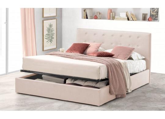 Pat Tapitat pentru Dormitor cu Lada, 100x190, Abra Promo Dolce Dormire, Catifea Velluto, Crem