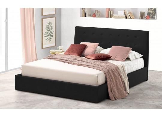 Pat Tapitat pentru Dormitor cu Lada, 100x190, Abra Promo Dolce Dormire, Catifea Velluto, Negru