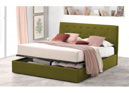 Pat Tapitat pentru Dormitor cu Lada, 100x190, Abra Promo Dolce Dormire, Catifea Velluto, Verde