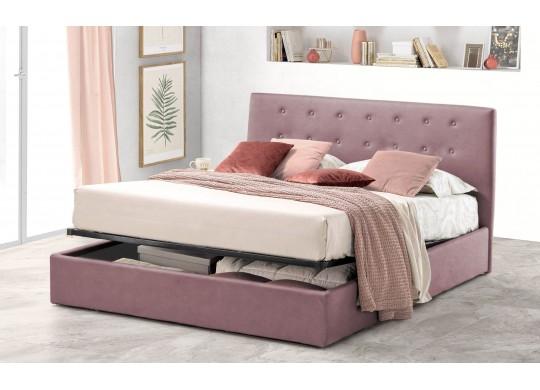 Pat Tapitat pentru Dormitor cu Lada, 100x190, Abra Promo Dolce Dormire, Catifea Velluto, Roz Flamingo