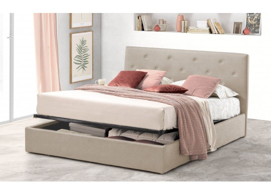Pat Tapitat pentru Dormitor cu Lada, 100x190, Rombo Promo Dolce Dormire, Textil Teflonat, Anti-Pete Jungle, Beige
