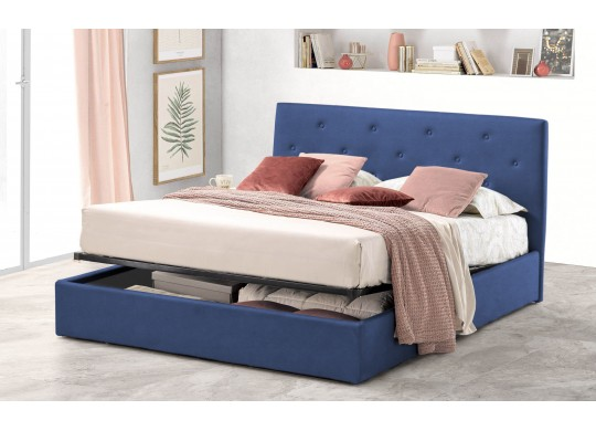 Pat Tapitat pentru Dormitor cu Lada, 100x190, Rombo Promo Dolce Dormire, Textil Teflonat, Anti-Pete Jungle, Bleumarin