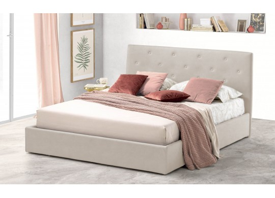 Pat Tapitat pentru Dormitor cu Lada, 100x190, Rombo Promo Dolce Dormire, Textil Teflonat, Anti-Pete Jungle, Crem