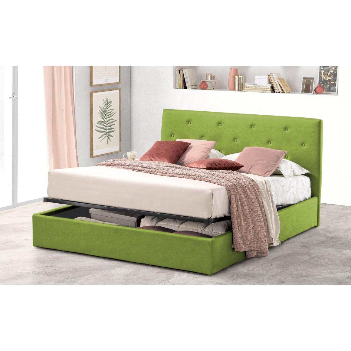 Pat Tapitat pentru Dormitor cu Lada, 180x200, Rombo Promo Dolce Dormire, Textil Teflonat, Anti-Pete Jungle, Verde