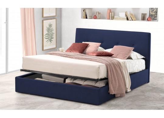 Pat Tapitat pentru Dormitor cu Lada, 100x190, Tiamo Promo Dolce Dormire, Catifea Velluto, Bleumarin