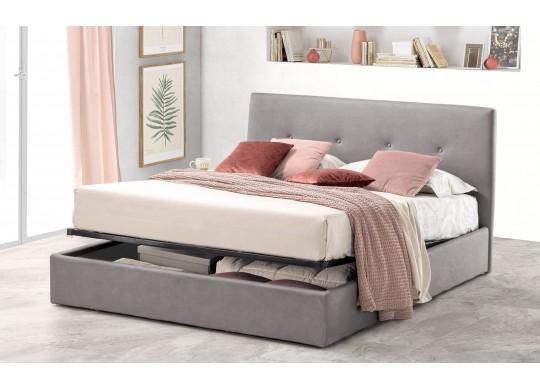 Pat Tapitat pentru Dormitor cu Lada, 100x190, Tiamo Promo Dolce Dormire, Catifea Velluto, Gri Deschis