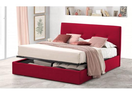 Pat Tapitat pentru Dormitor cu Lada, 100x190, Tiamo Promo Dolce Dormire, Catifea Velluto, Rosu