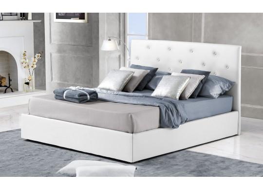 Pat Tapitat pentru Dormitor cu Lada, 150x200, Rombo Promo Dolce Dormire, Alb