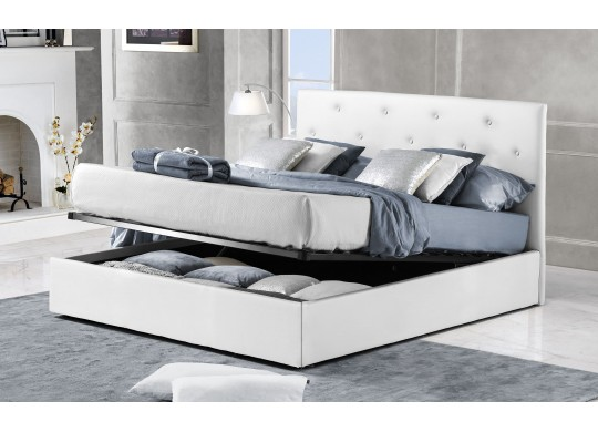 Pat Tapitat pentru Dormitor cu Lada, 100x190, Rombo Promo Dolce Dormire, Alb