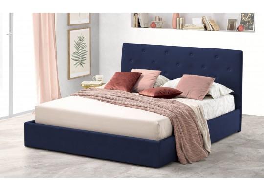 Pat Tapitat pentru Dormitor cu Lada, 100x190, Rombo Promo Dolce Dormire, Catifea Velluto, Bleumarin
