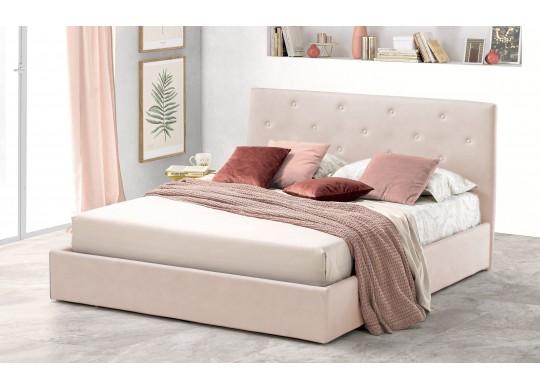 Pat Tapitat pentru Dormitor cu Lada, 100x190, Rombo Promo Dolce Dormire, Catifea Velluto, Crem