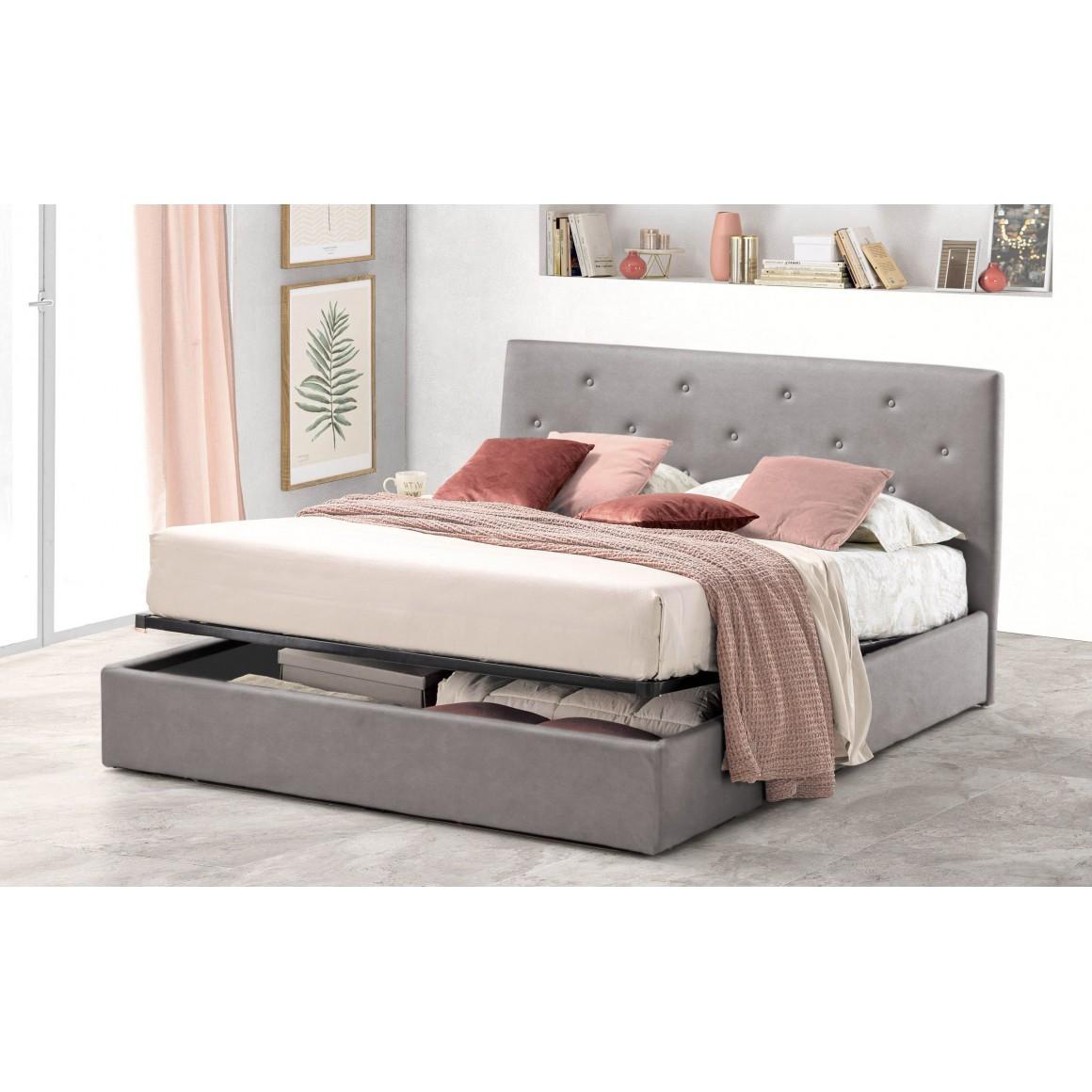 Pat Tapitat pentru Dormitor cu Lada, 90x200, Rombo Promo Dolce Dormire, Catifea Velluto, Gri Deschis