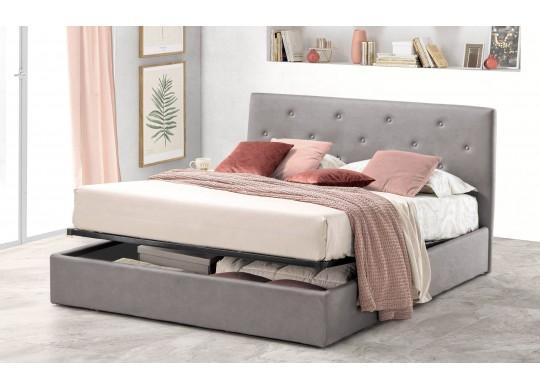 Pat Tapitat pentru Dormitor cu Lada, 100x190, Rombo Promo Dolce Dormire, Catifea Velluto, Gri Deschis