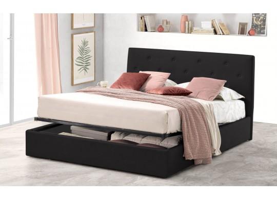 Pat Tapitat pentru Dormitor cu Lada, 100x190, Rombo Promo Dolce Dormire, Catifea Velluto, Gri Inchis