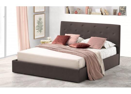 Pat Tapitat pentru Dormitor cu Lada, 100x190, Rombo Promo Dolce Dormire, Catifea Velluto, Maro