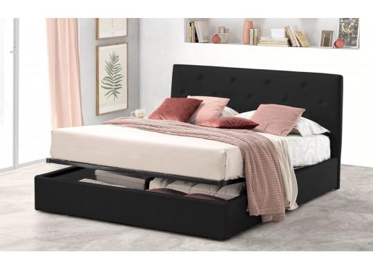 Pat Tapitat pentru Dormitor cu Lada, 100x190, Rombo Promo Dolce Dormire, Catifea Velluto, Negru