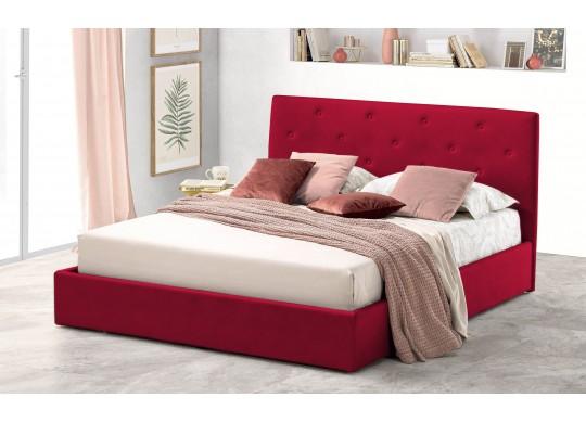 Pat Tapitat pentru Dormitor cu Lada, 100x190, Rombo Promo Dolce Dormire, Catifea Velluto, Rosu