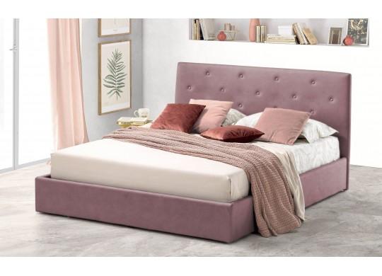 Pat Tapitat pentru Dormitor cu Lada, 100x190, Rombo Promo Dolce Dormire, Catifea Velluto, Roz Flamingo