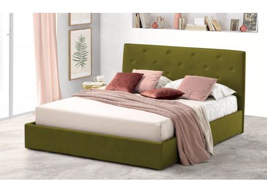 Pat Tapitat pentru Dormitor cu Lada, 100x190, Rombo Promo Dolce Dormire, Catifea Velluto, Verde